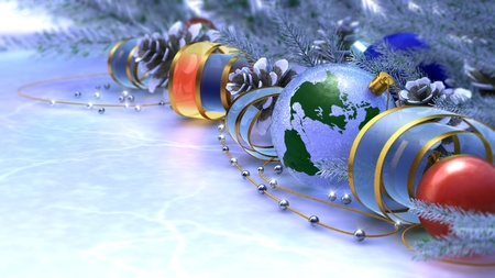 mettalic: Happy New Year and Merry Christmas background with ice and decorations