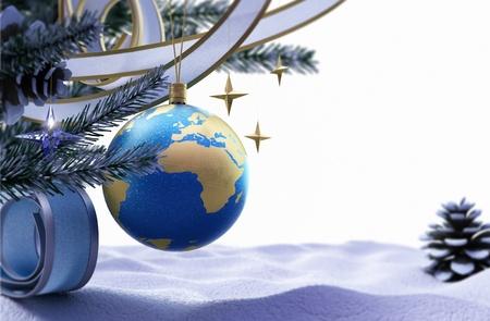 Gelukkig Nieuwjaar en Vrolijke Kerstmis achtergrond met ijs en decoraties