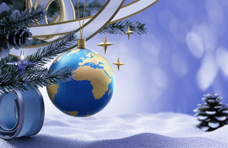 Happy New Year and Merry Christmas background with snow and christmas tree decorations Stock Photo