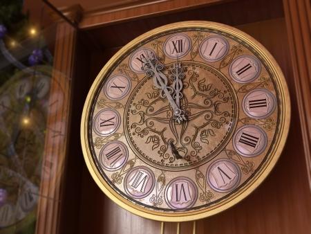 orologi antichi: Buon Anno e Buon Natale sfondo con vecchio orologio e chiave Archivio Fotografico