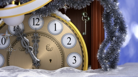 Happy New Year background with old clock,decorations, key and snow
