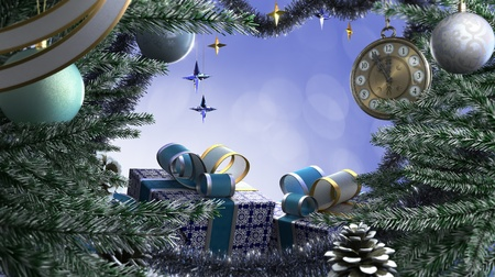 Happy New Year and Merry Christmas decorative border background photo
