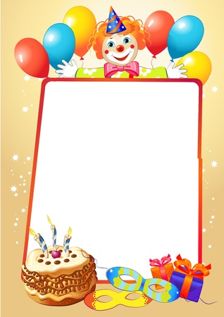 birthday decorative border with balloons and clown Vector