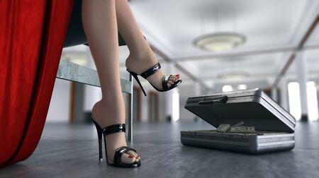 suit case: business concept with sexual sitting woman and case of money in interior scene Stock Photo