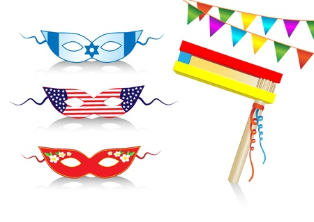 birthday international decorative elements with flags and masks Illustration