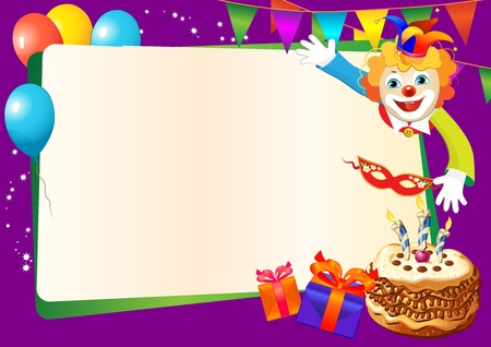 purim: birthday decorative border with cake, candles, balloons and clown