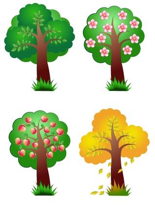 manzana caricatura: naturaleza, los elementos del vector de banners cuatro temporadas �rbol