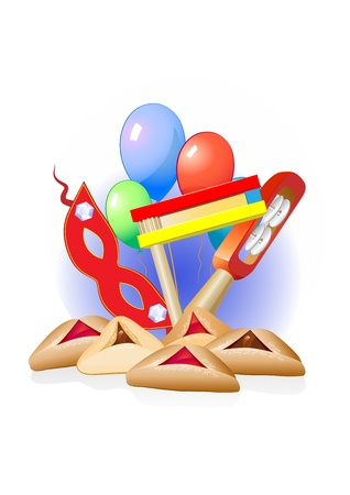 purim decorative border with balloons and sweets Illustration