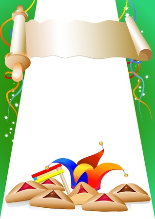 parade confetti: purim decorativo frontera con los globos y el sombrero de payaso Vectores