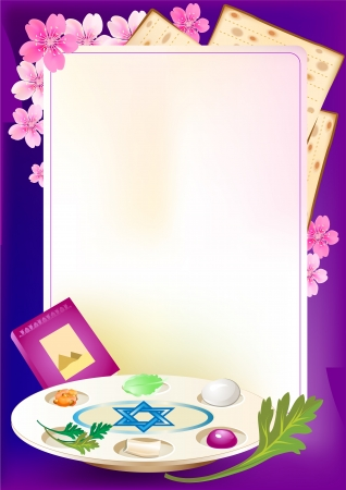 Jewish celebrate pesach passover with eggs, matzo,flowers and torah Ilustrace