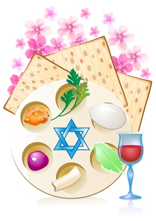 Jewish celebrate pesach passover with eggs, matzo,flowers and wine Vector