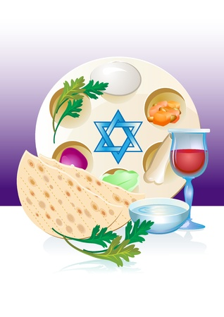 Jewish celebrate pesach passover with eggs, matzo,flowers and win photo