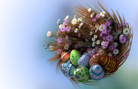 decorated Easter eggs with plants and flowers photo