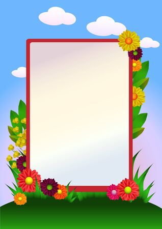 flowers border with grass and sky Vector