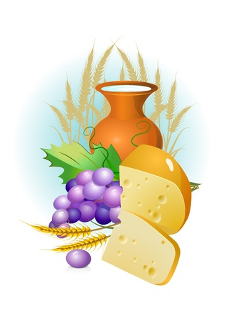 flank: set of food, grapes, cheese ,milk and wheat