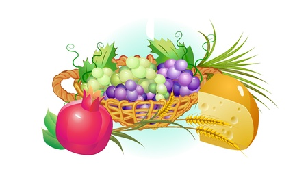 shavuot: shavuot holiday set of food, grapes, cheese ,milk Illustration