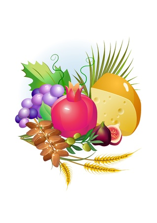 flank: shavuot hebrew holiday set of food, grapes, cheese ,milk Illustration