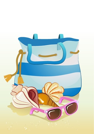 seaside summer holiday background with sand,bag, shells and sunglasses Stock Vector - 19523138