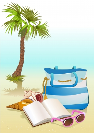 seaside summer holiday background with Palm ,bag,sunglasses Stock Vector - 19706550