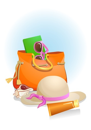 seaside summer holiday background with sand,bag,hat, shells and sunglasses Stock Vector - 19986628