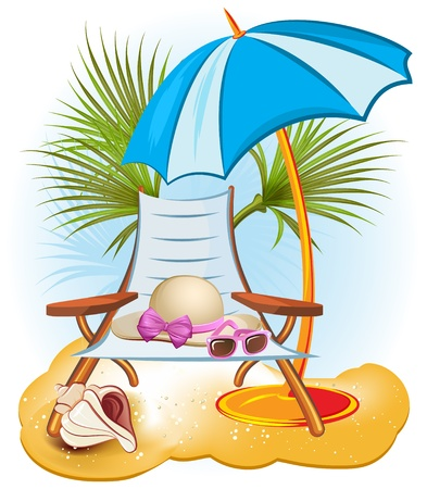 beach umbrella: seaside summer holiday background with palm,chair,umbrella,hat, shells and sunglasse Illustration