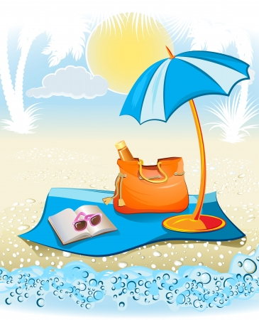 seaside summer holiday background with palm, umbrella, sunglasses