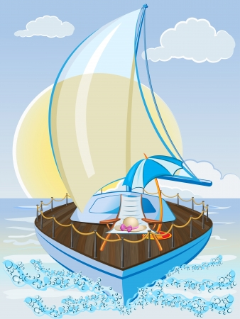 Summer holiday background with sailing ship, chair and umbrella Vector