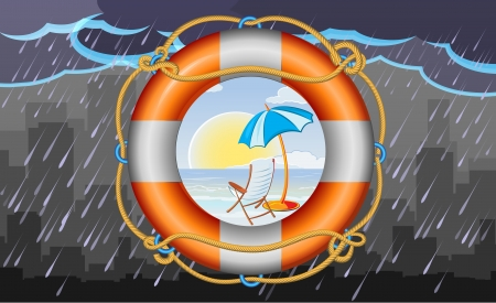 orange lifebuoy with stripes and rope as vacation symbol and town on background Vector