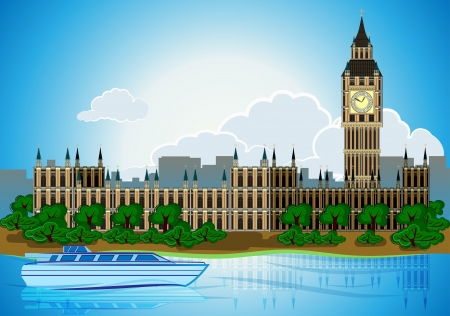 Europa skyline city capital London background with river bus Stock Vector - 20479902