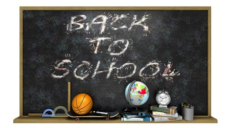 high school sports: Back to school poster with text on chalkboard,sports and education elements