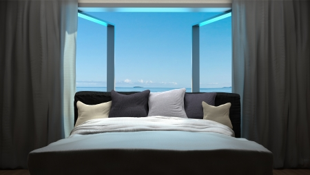 beach window: vacation concept background with interior elements of bedroom