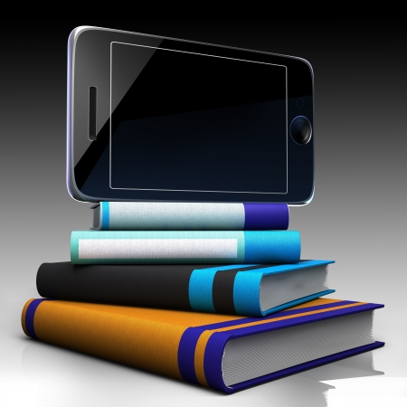 digital library: Digital tablet and books as progress concept