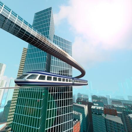 transportation: Vue aérienne de la ville futuriste