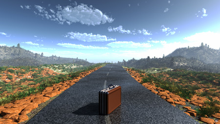deserted: suitcase on a deserted road as adventure concept background