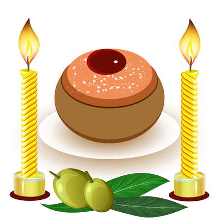hanukkah candles with traditional donuts Stock Vector - 23301180