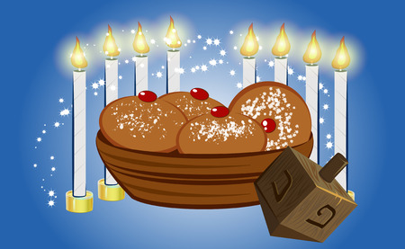 hanukkah candles with traditional donuts Stock Vector - 23305214