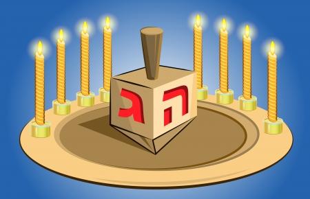 candil: velas de J�nuca con bu�uelos tradicionales
