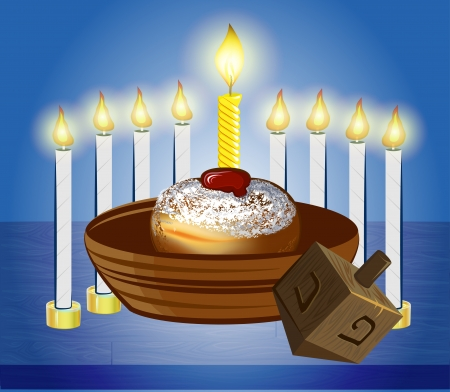 hanukkah celebrate candles with traditional donuts Vector