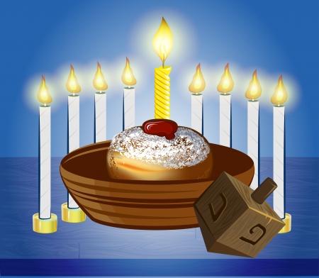 candil: J�nuca celebra velas con donuts tradicionales