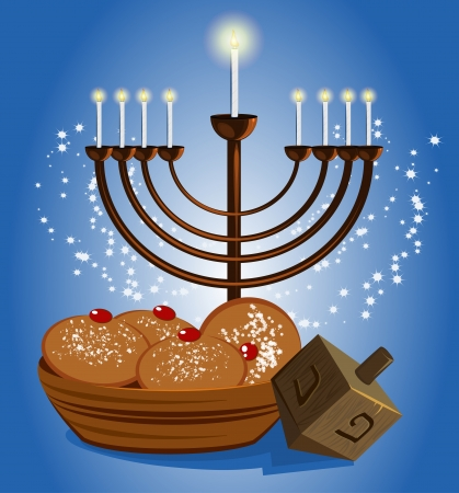 hebrew hanukkah celebrate candles with traditional donuts