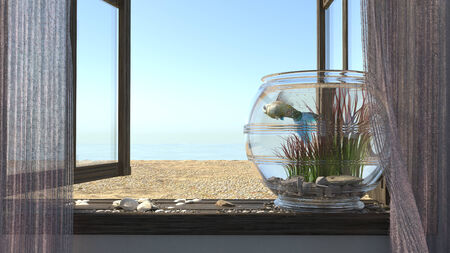Conceptual background with beach sea, window, fish and aquarium photo