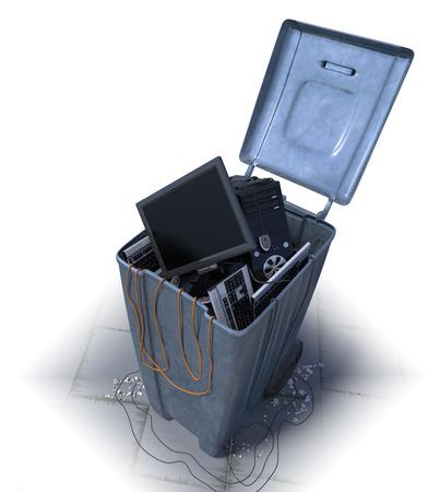 wastebasket: computers in a trash bin on a white