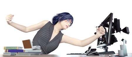 Angry working woman and computer concept illustration illustration
