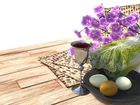 pesaj: Jud�o celebrar la Pascua con los huevos Pesaj, matz� y flores aislar el fondo blanco