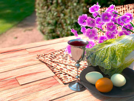 pesaj: Jud�o celebrar la Pascua con los huevos Pesaj, matz� y flores en el fondo la naturaleza