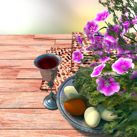 the feast of the passover: Jewish celebrate pesach passover with eggs, matzo and flowers on nature background