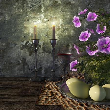 högtider: Judiska fira pesach påskhögtid med ägg, osyrat bröd och blommor semester bakgrund Stockfoto