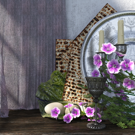 Jewish celebrate pesach passover with eggs, matzo and flowers holiday background photo