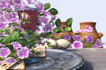 Jewish celebrate pesach passover with eggs, matzo and flowers on nature background photo