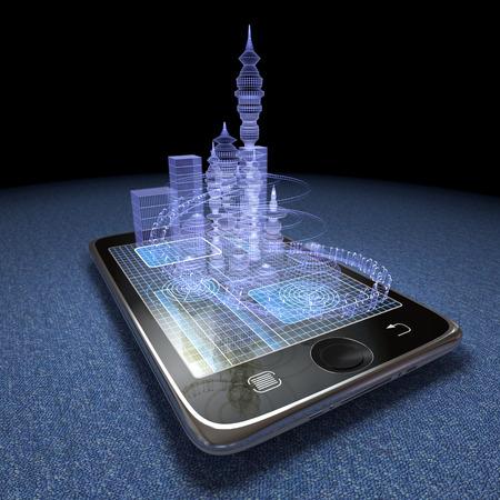 デジタル タブレットと進行状況の概念の背景として未来の町